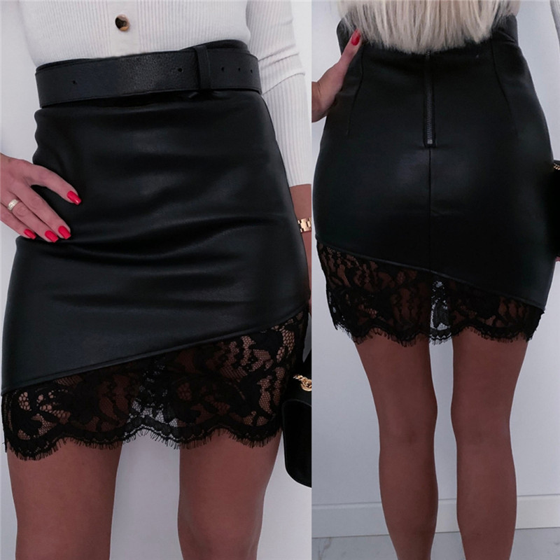 Women Sexy High Waist PU Leather Lace Floral Patchwork Skirt Back Zipper Asymmetrical Hem Black Short Mini Pencil Skirt Clubwear