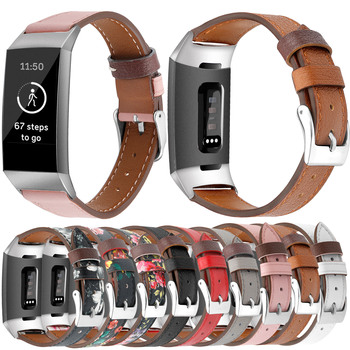 Essidi For Fitbit Charge 3 4 Leather Band Women Men Smart Bracelet Replacement For Fitbit Charge 3 4 Wristband Watch Strap Loop