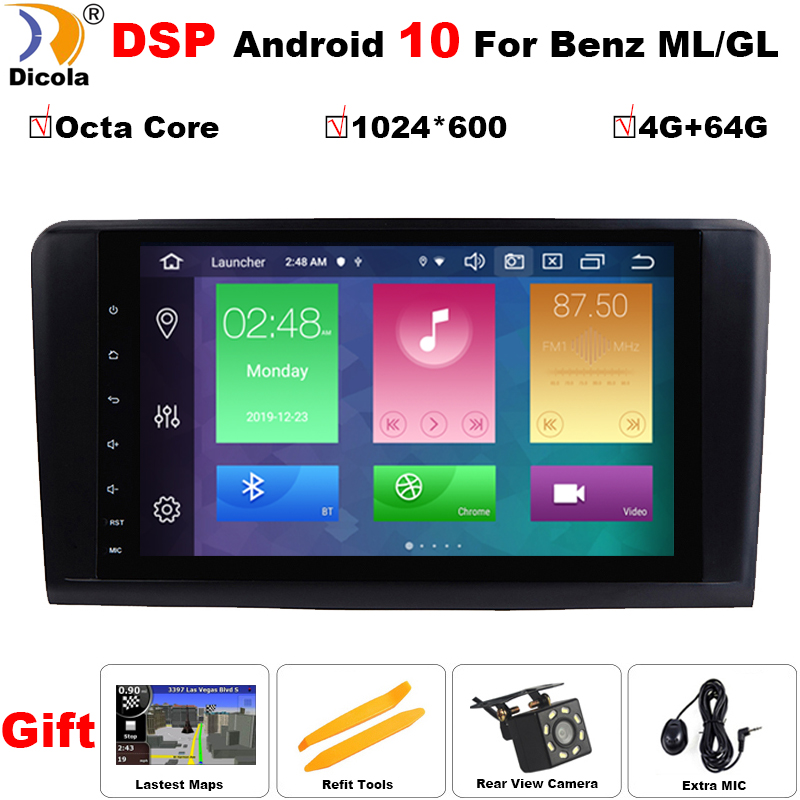 Android 10 DSP PX5 Car GPS FOR BENZ <font><b>ML</b></font> 320/<font><b>ML</b></font> <font><b>350</b></font>/<font><b>W164</b></font>(2005-2012) GL Multimedia Navigation head unit IPS DSP radio stereo NO DVD image