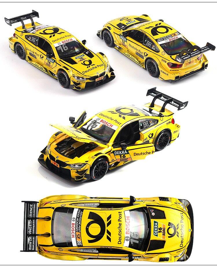 1:32 Масштаб литья под давлением Модель сплав Натяжная гоночная игрушка детский звук и светильник вытяжной узор M4 гоночный автомобиль детская игрушка