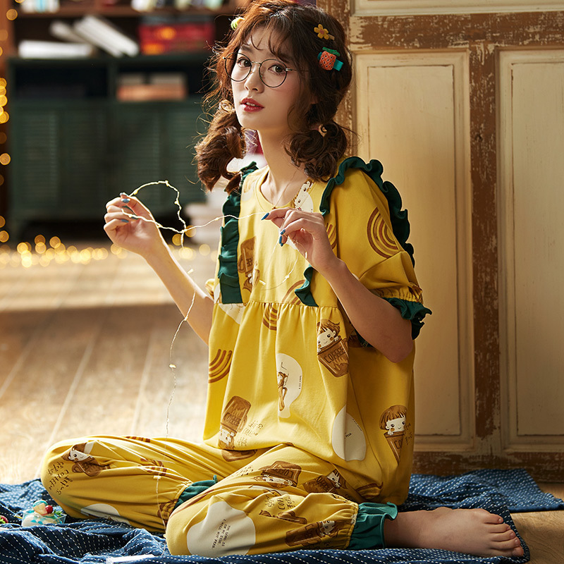 2020 Hot Sale Cotton  Pajamas Sets For Women Stylish Cartoon Pijamas Long Sleeves Long Pans Ladies Cute Pyjamas Casual Homewear
