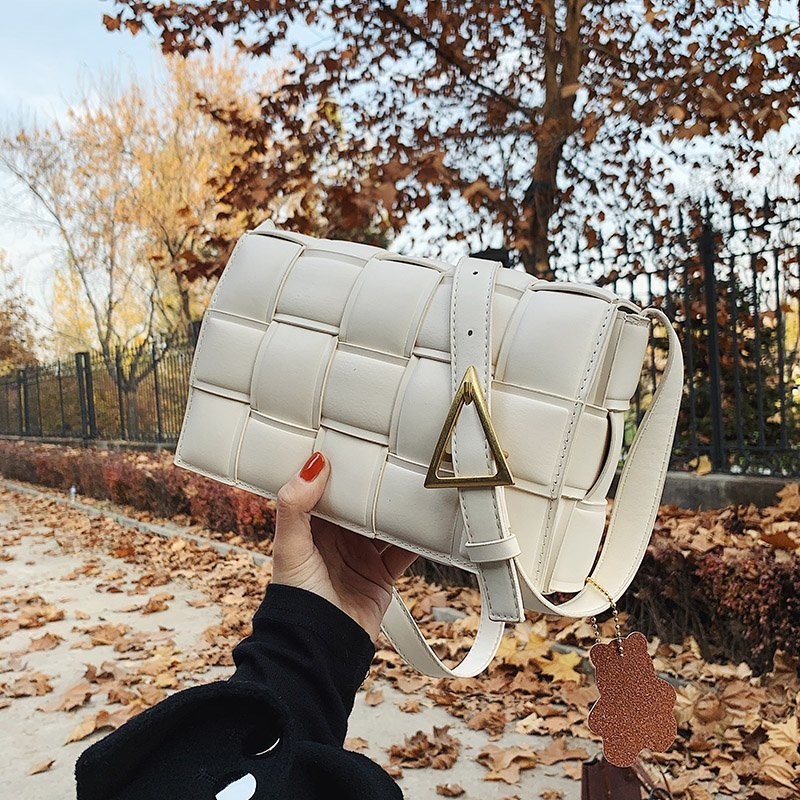 Женские сумки-мессенджеры из искусственной кожи, роскошные женские сумки через плечо известного бренда с цепочками, ручная работа, тканые с...