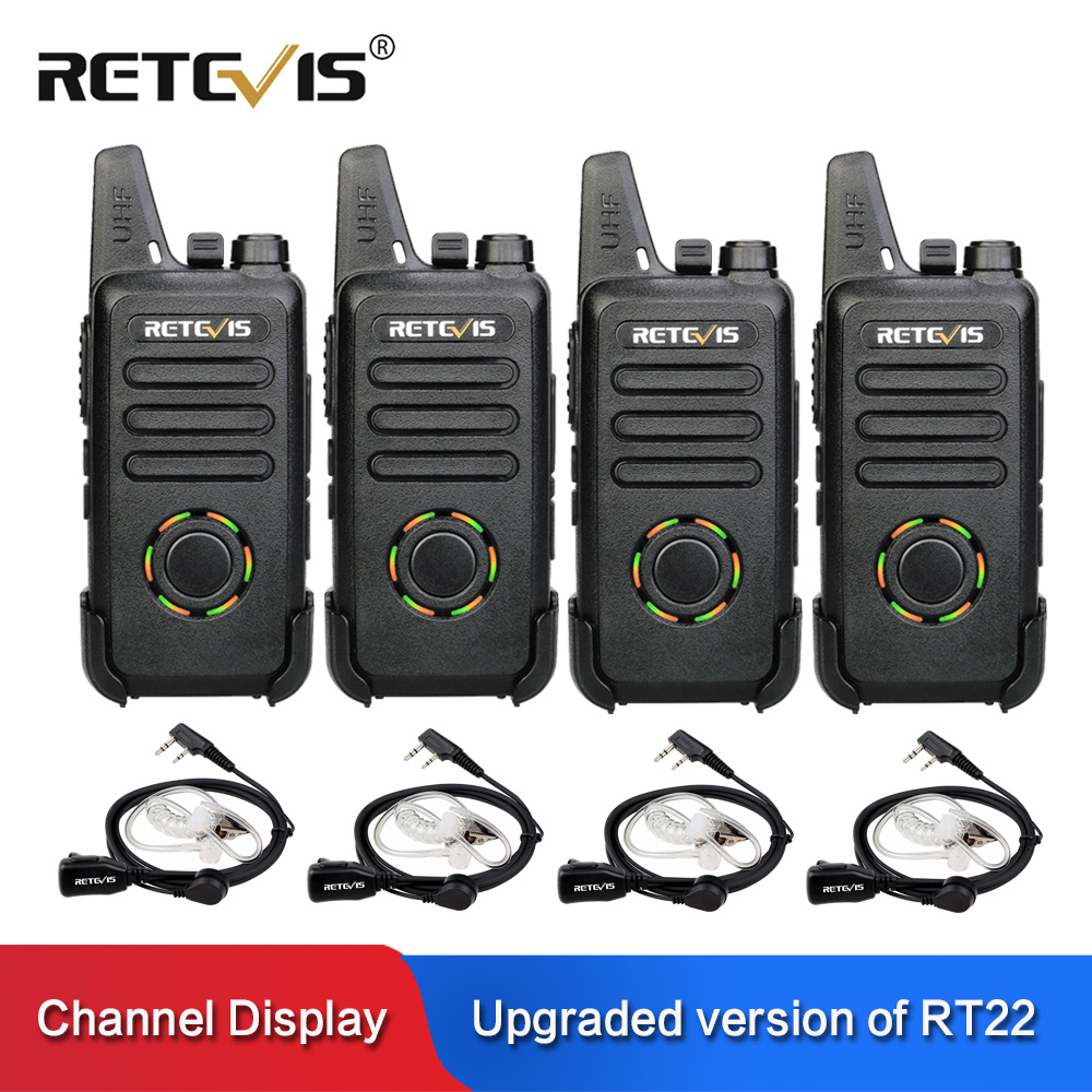 4pcs RETEVIS RT22S Handsfree Walkie Talkie RT22 Upgrade VOX Hidden Display USB Charging Two Way Radio Transceiver  With Earpiece