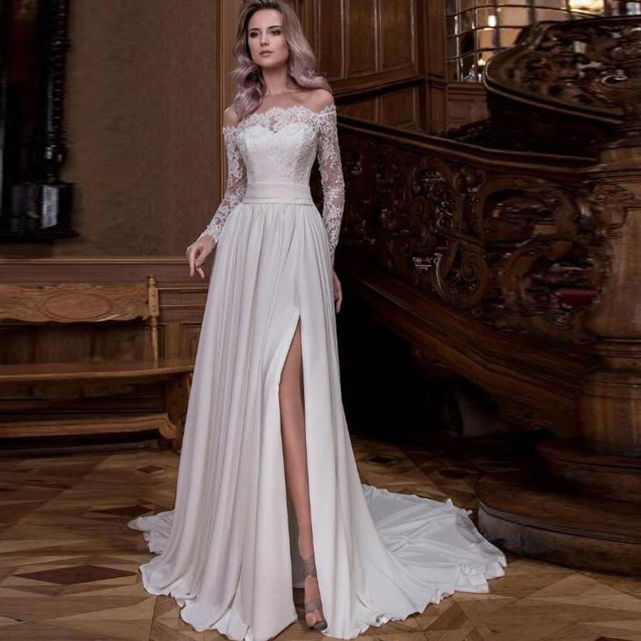 Off The Shoulder Long Sleeve Chiffon Split A-line Wedding Dress With Pleat Bow Belt Button Back Sweep Train Bridal Dress