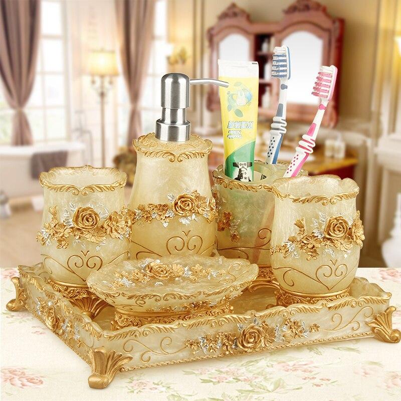 5 pièces salle de bains ensembles brosse à dents tasses shampooing bottol style européen créatif simple costume de mariage cadeau salle de bains décor accessoires
