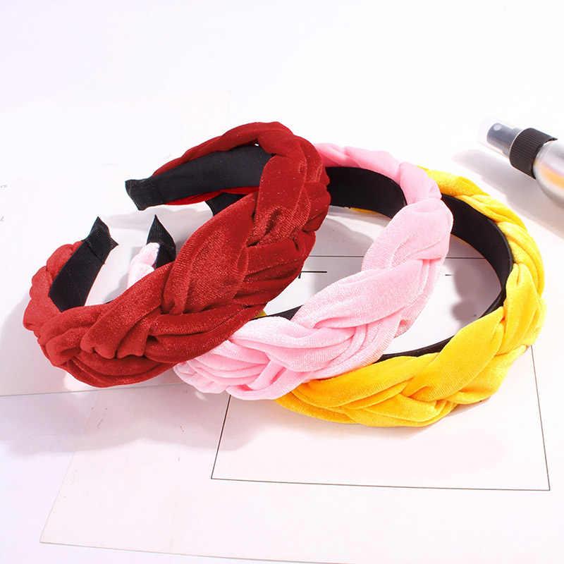 Корейские модные однотонные бархатные ткани украшение для волос с зубами женские аксессуары для волос твист лента для волос для девочек широкие обручи для волос