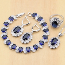 925  Silver Bridal Jewelry Sets Blue Cubic Zirconia White CZ Beads  For Women Earrings/Pendant/Ring/Bracelet/Necklace Set