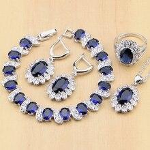 925 silber Braut Schmuck Sets Blau Zirkonia Weiß CZ Perlen Für Frauen Ohrringe/Anhänger/Ring/Armband/halskette Set