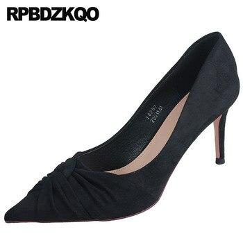 pointed toe autumn suede pumps thin brand high heels plaid fashion shoes 2019 luxury women black 8cm scarpin size 4 34 ladies