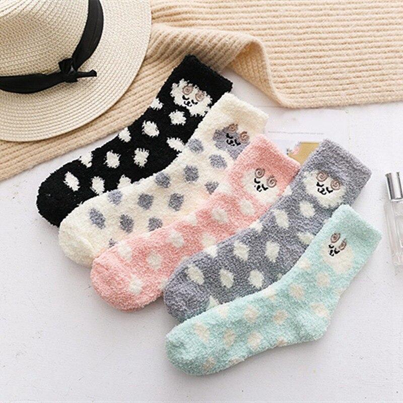 Women Polka Dot Cotton Socks Multi-Color Cute Women