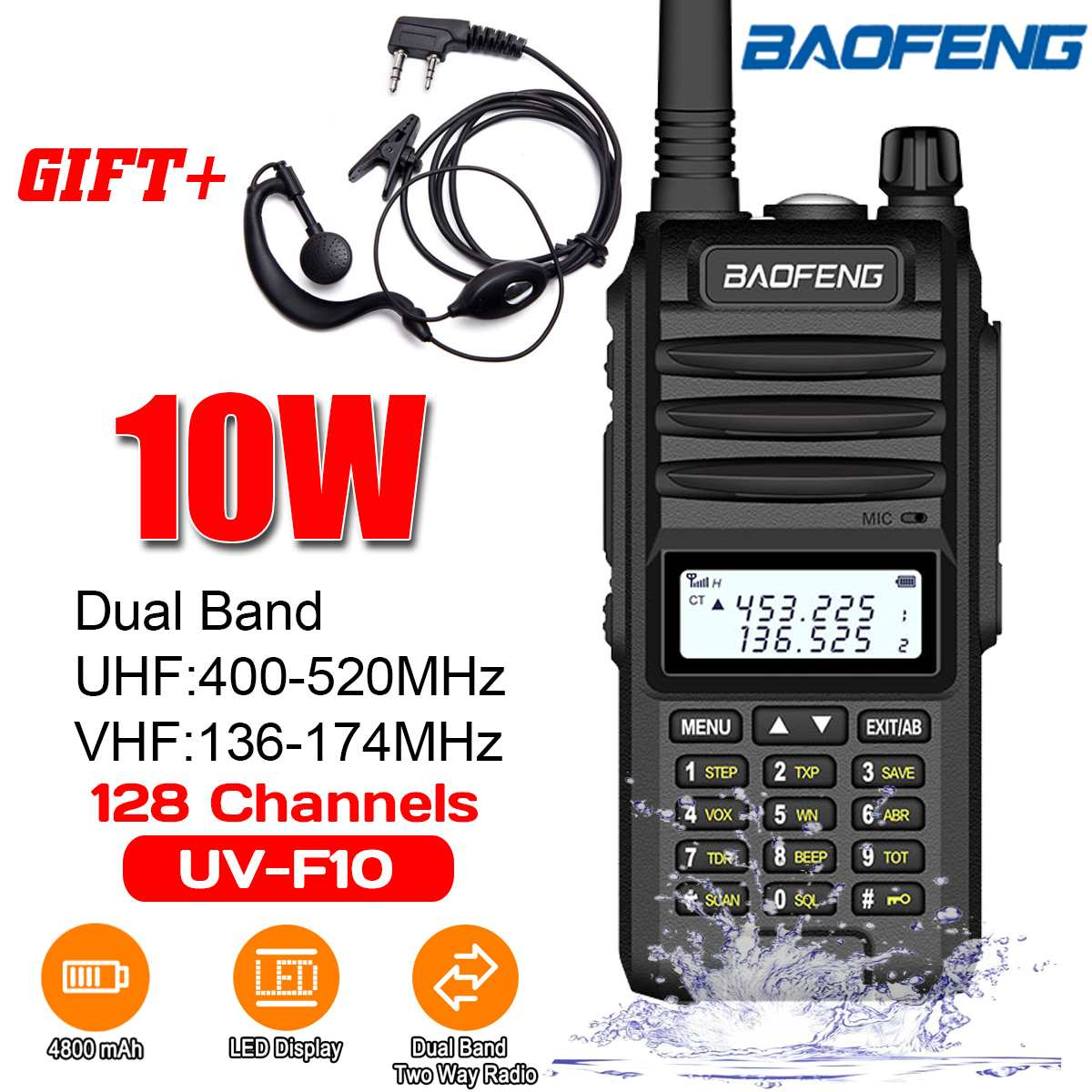 Baofeng BF-UVF10 Walkie Talkie VHF UHF 10W Waterproof Walkie Talki Dual Band Handheld Two Way Radio 520MHz 128 Channels Radio