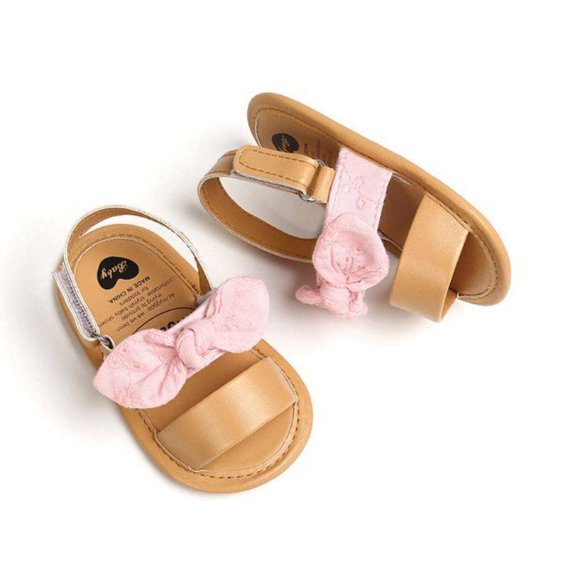 Fashion Newborn Infant Baby Girls Princess Shoes Bowknot Toddler Summer Sandals PU Non-slip Shoes 0-18M 6