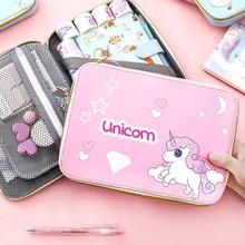 Kawaii Cartoon Pencil Case Cute Pen Bag For Girls Boys Large Big Korean Pencilcase Zipper Stationery Storage Supplies