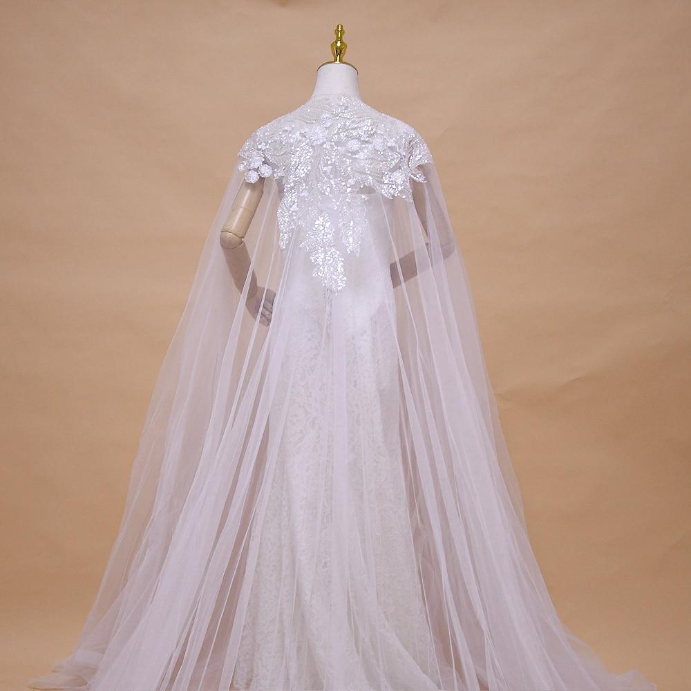 TRiXY G25 Elegant White Women Veil Cape Tulle Lace Embroidery Applique 3M Wedding Capes Bridal Wraps Long Train Shawls Cloak