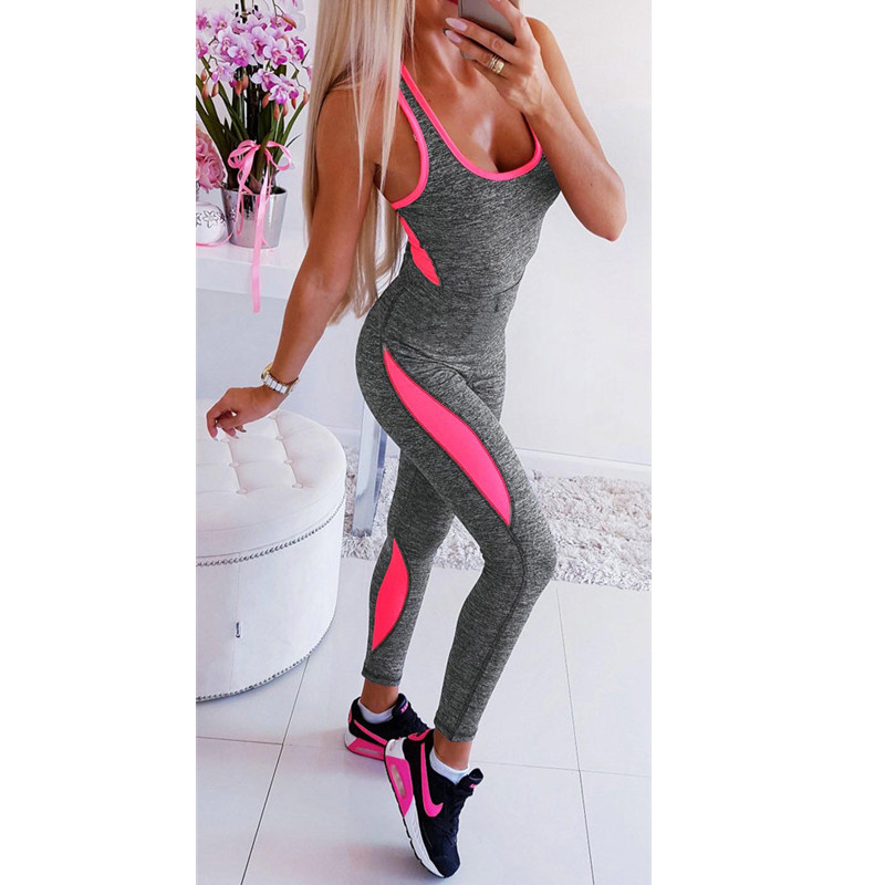 Newest Women Casual Sleeveless Sports Fitness Playsuits Overalls Bodysuit Patchwork Boycon   Jumpsuit   Romper