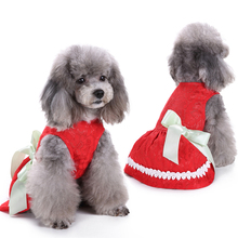 Mini Pet skirt Dog Dress Clothes Coat Clothing Supplies Solid Red For Female Small Medium D40