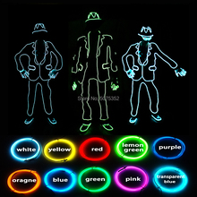 GZYUCHAO EL Neon Led Suit Hip-Hop Dance Costume EL Wire Light Up Costume Party Rave Flashing Suit For Christmas Halloween цена 2017