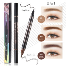 Wenkbrauw Eyeliner Potlood 2 in 1 Gecombineerd Zwarte Vloeibare Eyeliner Waterproof 3 Kleur Vork Eye Brow Enhancers Make-Up Eye Pigment(China)