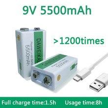 2021 novo 9 v 5500mah li-ion bateria recarregável micro bateria usb 9 v lítio para multímetro microfone brinquedo + cabo de carregamento usb