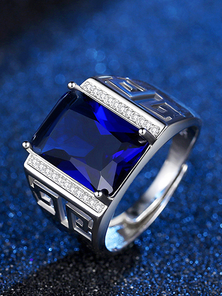 Men Ring Jewelry Zircon Gemstone-Accessories Geometric-Shape Sapphire Wedding-Engagement