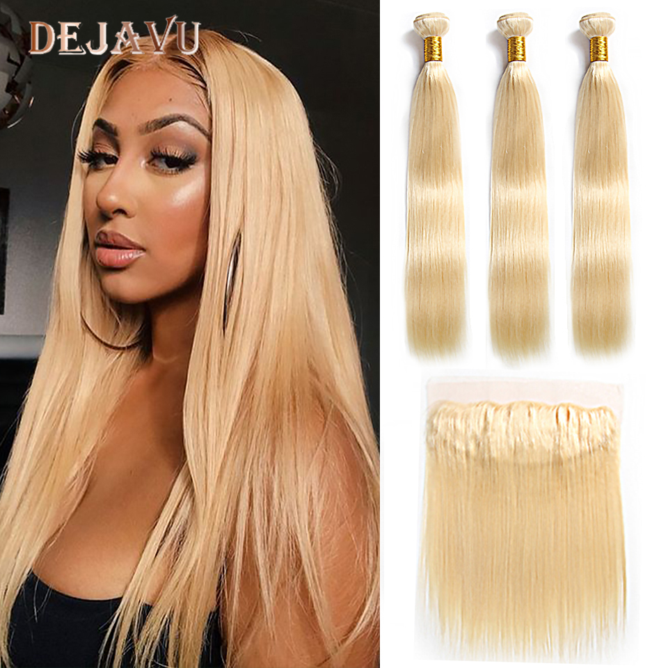 613 Blonde Bundles With Frontal Ear to ear Malaysia Straight Remy Human Hair 13*4 Lace Frontal Closure With Bundles