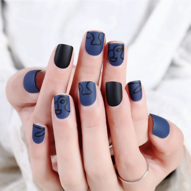Wear Fake Nails Frosted Black Blue Cool Nail Stickers A Fake Nails Short Stick Completely Natural Detox Jia Pian 309