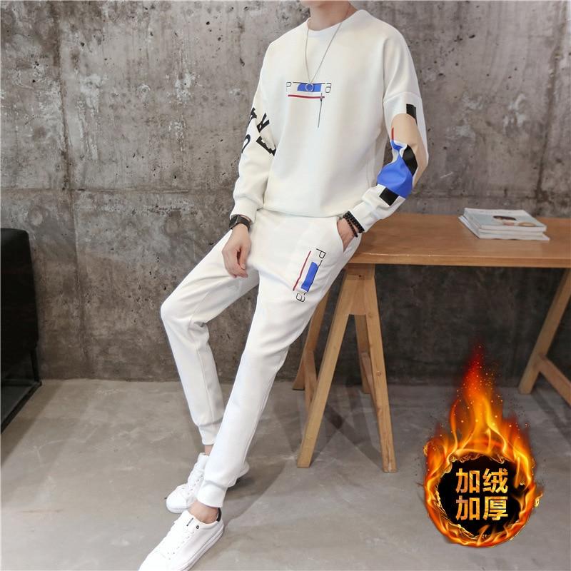 Men's Autumn Mens Velet Casual Tracksuit Hoodies Sweatpants 2 Piece Set Sweatsuit Gym Hip Hop Streetwear Sweatshirts Tracksuit