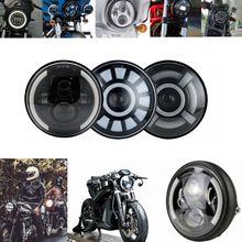 Phare universel Led DRL halo H4 pour Moto, 7 pouces, Phare pour Softail Cafe Racer Chopper Honda