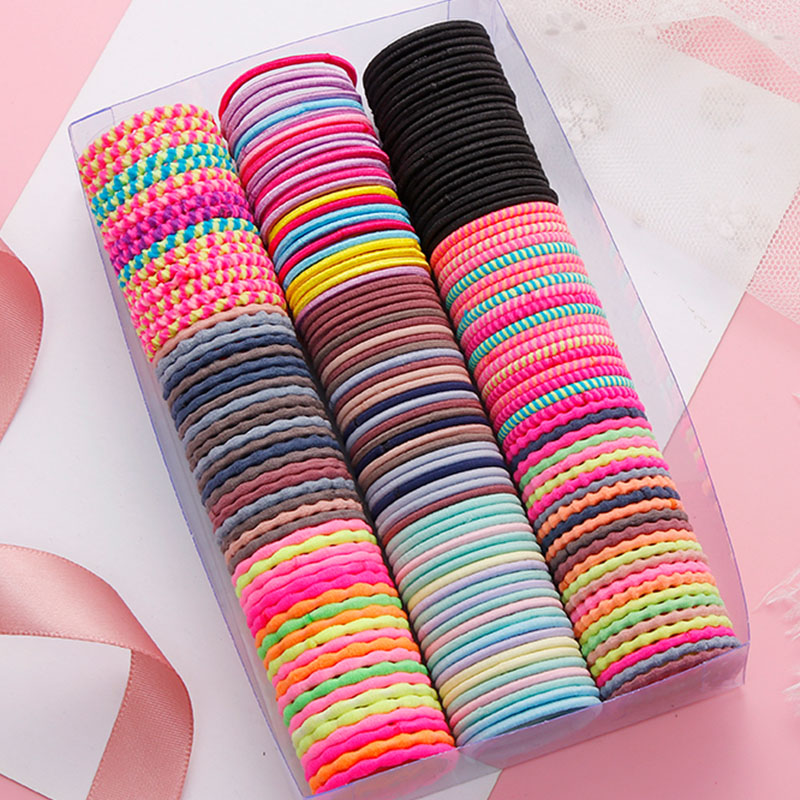 50PCS/Set Girls Colorful Basic Elastic Hair Bands Children Cute Ponytail Holder Rubber Band Headband Scrunchies Hair Accessories