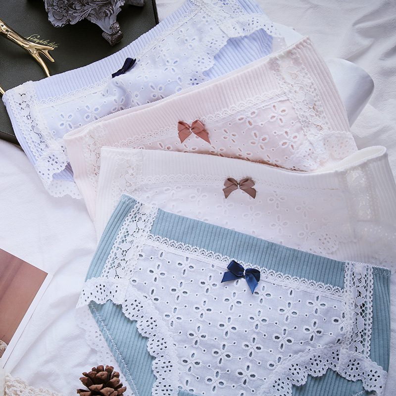 SP&CITY Girls Hollow Out Lace Design Underwear Women Cross Embroidered Menstrual Panties Lovely Bow Solid Cotton Briefs Lingerie