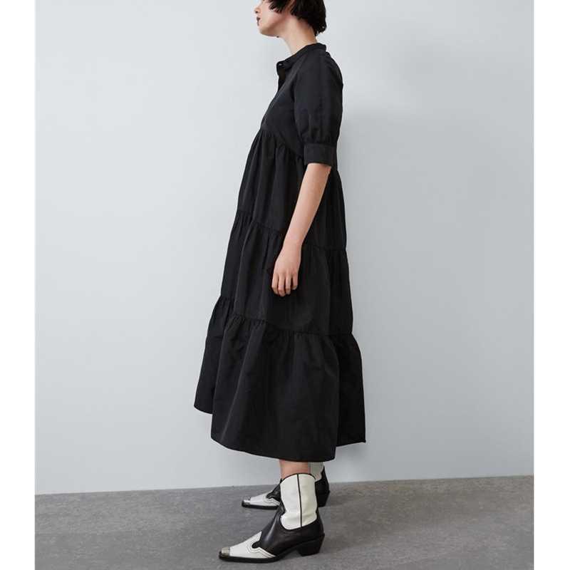 PUWD 2019 jesienno-zimowa w nowym stylu rękaw typu bombka sukienka w połowie długości spódnica trzy czwarte luźny stojak kołnierz czysta czerń plisowana spódnica