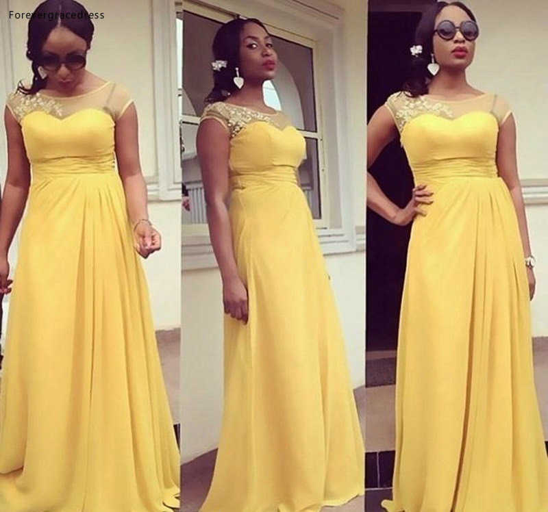 Yellow Chiffon Bridesmaid Dress Wedding Ceremony High Quality Long Formal Maid of Honor Gown Plus Size Custom Made