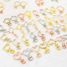 10 pçs encantos chaveiro lagosta fecho ganchos estrela coração lua chaveiro chaveiro para diy fazendo suprimentos para jóias componentes