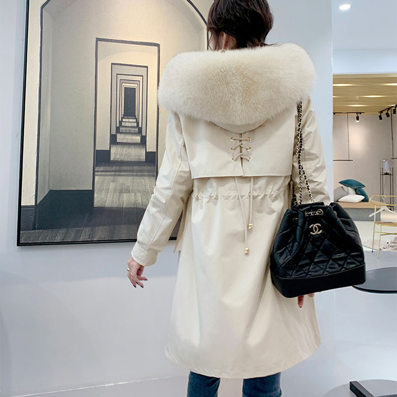 long coat winter jacket women parka real fur clothing Fashion shell hooded with natural real fox fur collar thick warm parka image