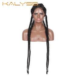 Kalyss 31 ''Extra Long 100% tressé à la main 360 suisse dentelle avant Double néerlandais tressé perruques avec des cheveux de bébé pour les femmes perruque torsadée