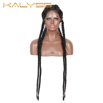 Kalyss 31 inches Cornrow Braids Lace Wigs 360 Lace Front Syntetic Wig Double Dutch Box Braids with Baby Hair for Black Women
