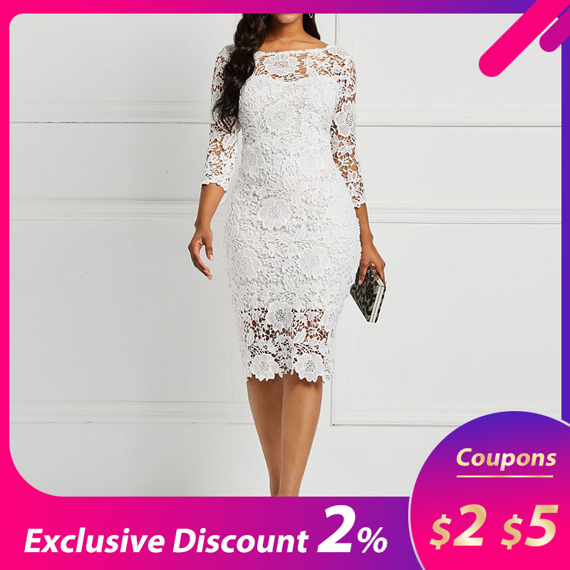 Женское вечернее платье, Белое Прозрачное Кружевное облегающее платье с цветочным принтом для офиса на весну и лето