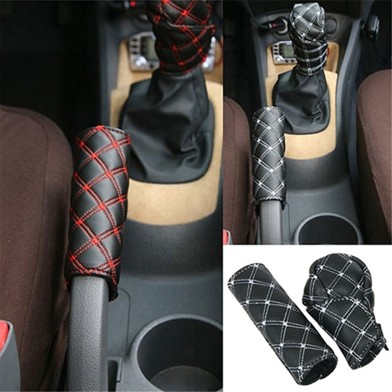 Car Faux Leather Gear Shift Knob Cover Hand Brake Cover Sleeve 2 In 1 Set Accessories Car-mounted Hand Brake Block Opp