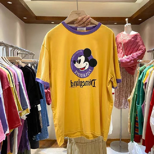 2020 New Summer Mickey Mouse Women Lettered Printing Short-Sleeved T-shirt Korean-Style Loose Top Bottoming Shirt Women Shirts