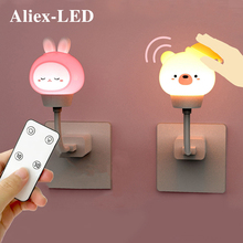 LED Chlidren USB Night Light Cute Cartoon Night Lamp Bear Remote Control for Baby Kid Bedroom Decor Bedside Lamp Christmas Gift