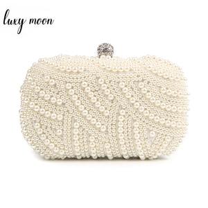 Image 1 - Клатч с жемчугом, женские сумочки, женские белые ручные сумки, вечерние сумки для свадьбы, черная сумка на плечо, Bolsa Feminina