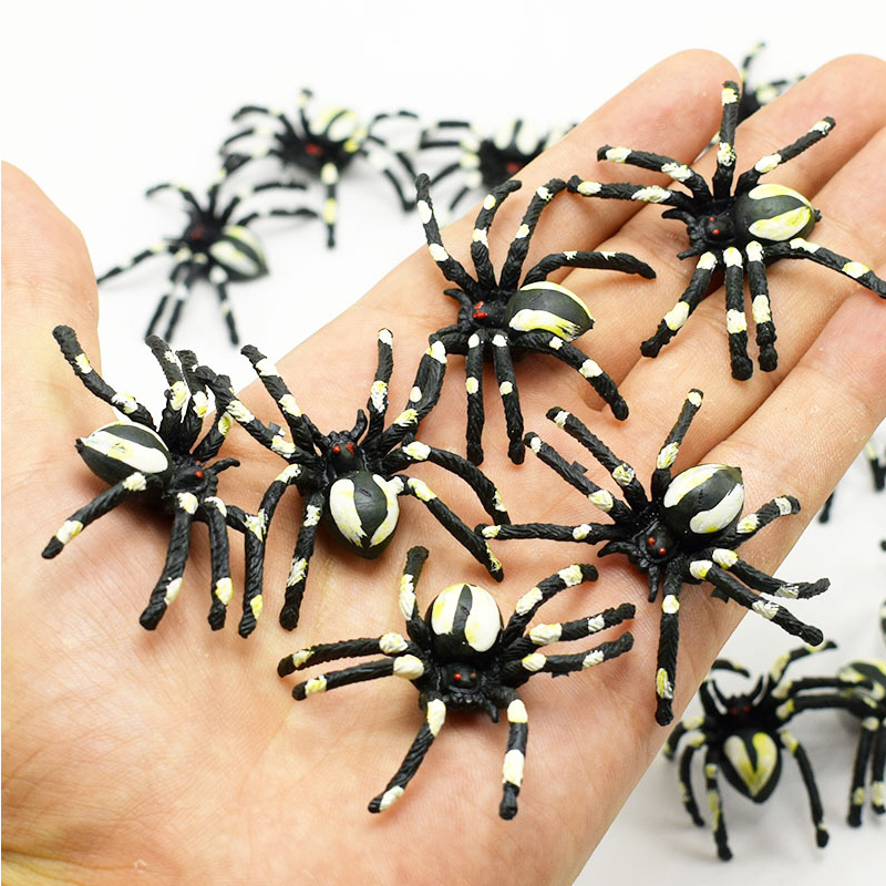 5pc Horror Spoof Scary Simulation White Flower Spider Halloween Fools Day Trick Toy