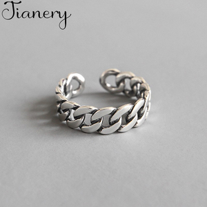 JIANERY Trendy Silver Color Hollow Chain Rings For Women Bridal Wedding Engagement Jewelry Large Opening Antique Rings(China)