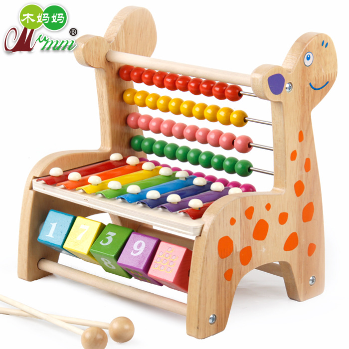 Calculation Bead-stringing Toy Knock Piano Mu Zhi Jia Octave Wooden Paiono Table Infants Children'S Educational Toy Beaded Brace