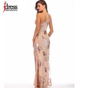 Image 4 - IDress Bölünmüş Parlak Elbiseler Zemin Pullu Bir Omuz uzun elbise için Kadın Vestidos Verano 2019 Mujer Yüksek Yarık Elbiseler