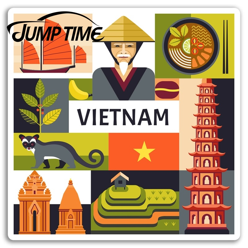 Jump Time For Vietnam Vinyl Stickers Hanoi Asia Cool Travel Sticker Luggage Decal Rear Windshield Waterproof Car Accessories