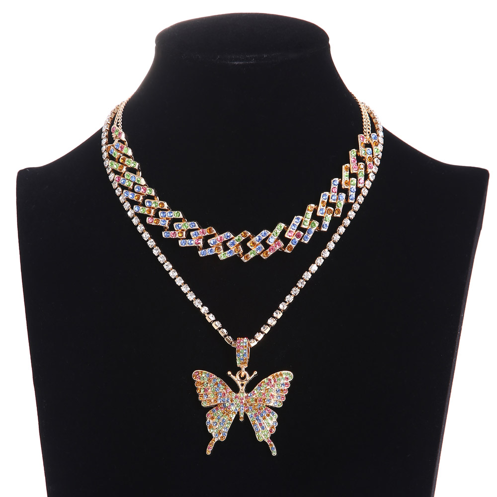 Iced Out Cuban Link Chain Butterfly Necklace Set Ice Choker Necklace Women Blinged Chain chocker Hip Hop Pendant Jewelry