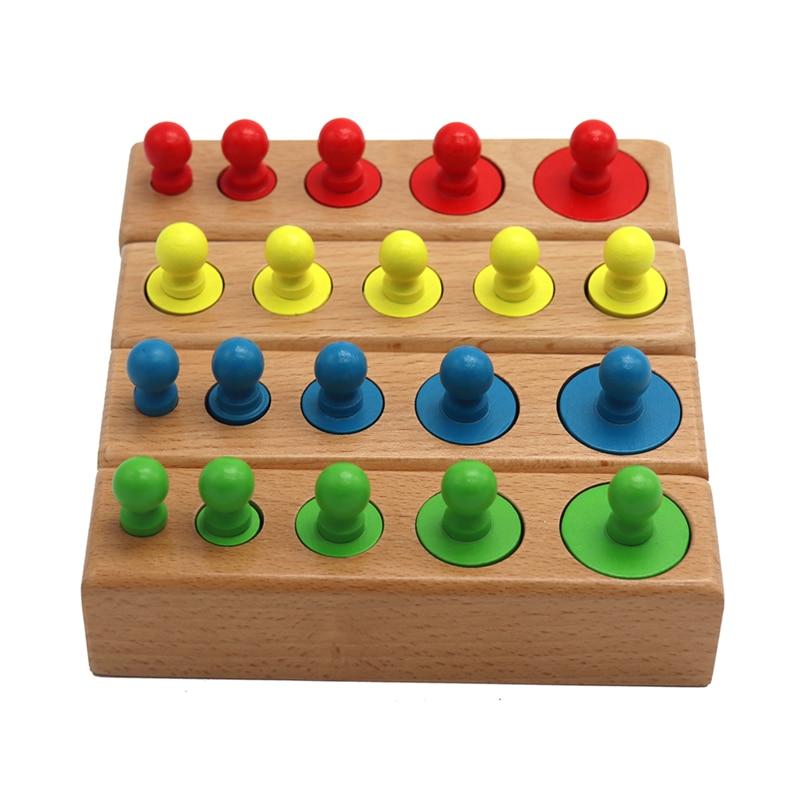 Головоломка Монтессори с цилиндрической розеткой, игрушка для обучения развитию ребенка, дошкольные Развивающие деревянные игрушки для детей 1