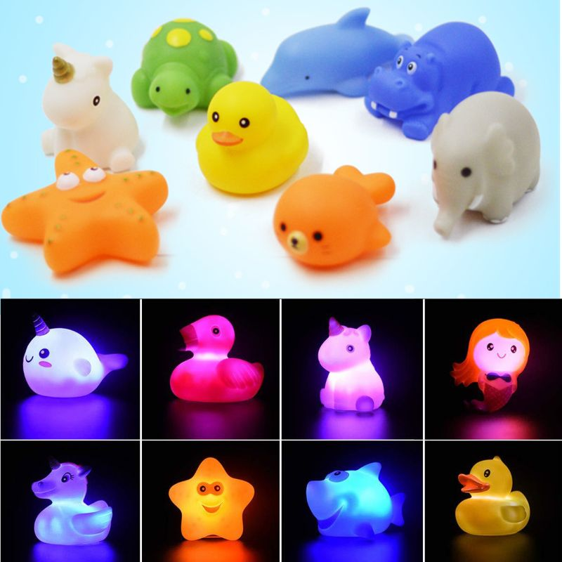 Baby Water Flashing Floating Dolphins Kids Automatic Led Lighting Up Beach For Children For Bathroom Swimming Bath