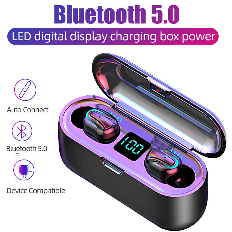 Q32 Tws Bluetooth Earphone Sport Blutooth 5.0 Nirkabel Blutooth Headset dengan MIC Headphone Handsfree Earbud Earphone dengan Pengisian Box 2000 mah Power Bank Cordless Headset PK GT1 F9